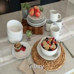 10 Strawberry Street Wazee Matte 16 Pc Coupe Dinnerware Set, White Sleek Edges