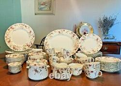100pcs Minton Ancestral, fine Bone China Dinnerware, serve 12, excellent