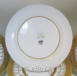12 English Gold Dinner Plates Beaded Antique 10.25