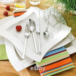 12-Pcs Modern Wavy Square White Porcelain Dinnerware Set For 4 Chip Resistant