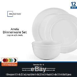 12 Piece Round Dinnerware Set White Dishes Plates Bowls Stoneware Dinner Kitchen