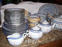 134 pcs CHINESE BLUE WHITE DRAGON TRANSLUCENT RICE GRAIN DINNERWARE & ACCESS VTG