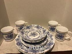 16-PIECE Setting For Four of ARCOPAL, FRANCE HONORINE PATTERN DINNERWARE