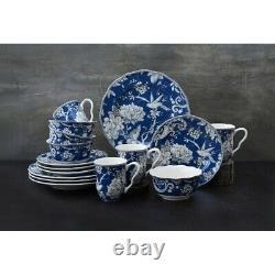 16 Pcs Blue Bird Floral Dinnerware Set Kitchen Dinner Plates White Bowls Dishes