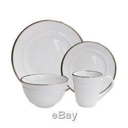 16 Piece Dinnerware Set Home Kitchen Dinner Dish Plates Service Kit Stoneware