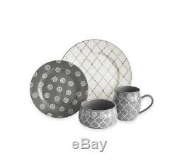 16 Piece, Kitchen Dinner Plates, Bowls, Dishes, Dinnerware Set in Grey/White
