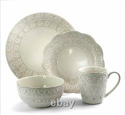 16 Piece Lace Round Embossed Stoneware Dinnerware Dish Set Service for 4 White