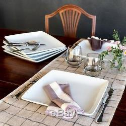 16-Piece Porcelain Coupe Square Dinnerware Set Home Dinner Dishes Service Kit