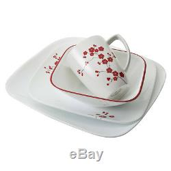 16 Piece Square Dinnerware Set Service for 4 Dishes Plates Bowls Mugs Corelle