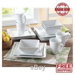 16-Piece Square Porcelain Dinnerware Set White Dinner Plates Dishes Stoneware