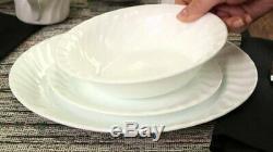16-pc Corelle ENHANCEMENTS White Swirl DINNERWARE SET Plates Bowls & 10.5-oz MUG