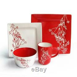 16-piece Lovely Red & White Color Palette Blossoms Ceramic Square Dinnerware Set