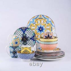16pc Boho Floral Dinnerware Set Kitchen Dinner Plate Bowl Dish Yellow Blue White