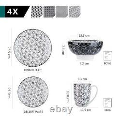 16pc Japanese Black White Dinnerware Set Kitchen Dinner Plate Dish Bowl Oriental