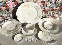 1888-1896 Haviland Limoge china set of 6 dinner plates St Lazare Excd dinnerware