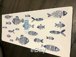 19 Pc Sigrid Olsen FISH Blue White MELAMINE Coastal Plates Bowls Dinnerware SET