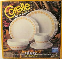 2 Boxes Corelle Butterfly Gold 20-piece Dinnerware + RARE Completer Set 45 pcs
