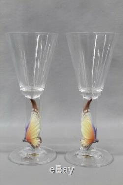 2 RARE FRANZ Porcelain Papillon Butterfly White Wine Glass Kuang Yuh San Yu