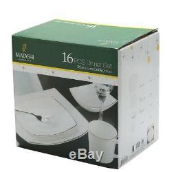 (2 SETS) of Matashi Platinum Collection OpalGlass Total 32-Piece Dinnerware Set
