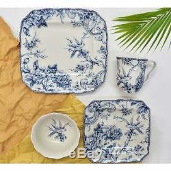 222 Fifth Adelaide Blue 16-piece Dinnerware Set, Service for White, Blue
