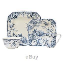 222 Fifth Adelaide Porcelain 16pc Dinnerware Set Blue