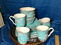 222 Fifth Adelaide turquoise 16-piece Dinnerware Set, Service for 4 mugs RARE