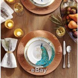 222 Fifth Peacock Garden Dinnerware Set Porcelain Hand-Applied Decal (16-Piece)