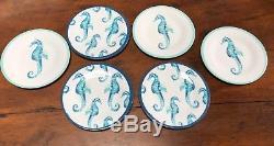 24 Pc SET Sigrid Olsen Seahorse White MELAMINE Coastal Plates Bowls Dinnerware
