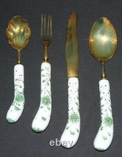 24 Piece Vintage Flatware Set Brass, HP Porcelain Handles Knifes Forks Spoons