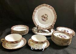 24-pc J. Pouyat Limoges France Bird of Paradise and Flowers Dinnerware Set