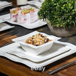 28-Piece MALACASA Mario Porcelain Dinnerware Set Plates Bowls Salt & Pepper Pots