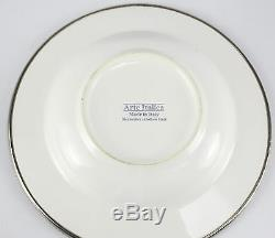 2pc Set Arte Italica Porcelain & Pewter Soup Bowls in Perlina, Qty 5 Available