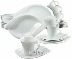30 Piece Dinnerware Set Plates Dishes Bowls Mugs White Porcelain Service For 6