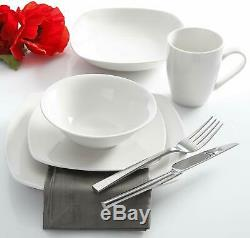 30-Pieces Dinnerware Set Porcelain Square White Microwave Safe Service for 6