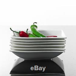 30PCS Square Ceramic Dinner Kitchen Service Dinnerware Plates Cup Complete Set
