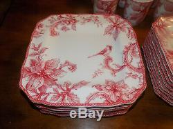 32 Pc Set NEW 222 Fifth CHRISTMAS LANE 8 Place Settings Plates Bowls Plates Mugs