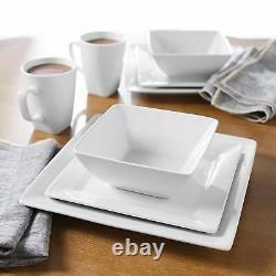 32 Piece Dinnerware Set Porcelain Square Dinner Plates Bowls Mugs Service for 8