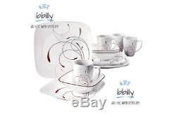 32 Piece Square Dinnerware Set Dishes Dinner Plates Kitchen Set for 8 Corelle