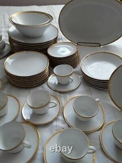 $35 DOWN! White & Gold Band Seltmann Weiden Bavaria Germany Dinnerware 87 Pcs
