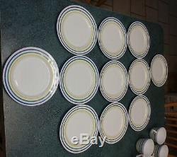 36 Piece Vitrock Milk Glass Cafe Dinnerware Set Blue Green Yellow Stripes RARE