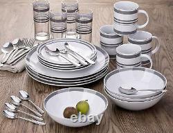 36pcs Dinner Set Plates Bowls Mugs Cutlery Combo Dinnerware Crockery Grey/White
