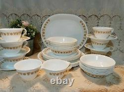 39-pc Vintage CORELLE BUTTERFLY GOLD Dinnerware Set plate bowl cup saucer