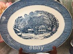 4 place sets Mismatched Vintage China Transferware Blue and White Dinnerware #5