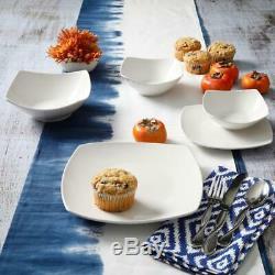 40-piece Dinnerware Set Service for 8 Fine Ceramic Square Kitchen Dishes White