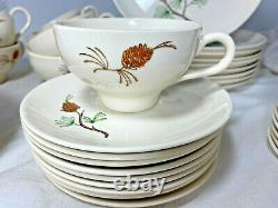 40 piece set Vintage PINE by Stetson Ovenproof Dinnerware, Hand-Painted, MCM