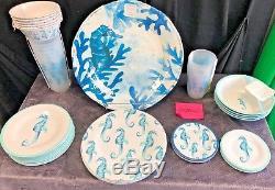 41 Pc SET SEAHORSE Sigrid Olsen White MELAMINE Coastal Plates Bowls Dinnerware