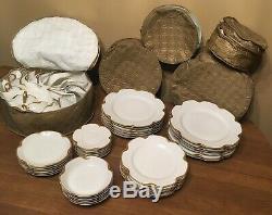 42-piece HAVILAND Limoges France RANSON White Scalloped Dinnerware Set