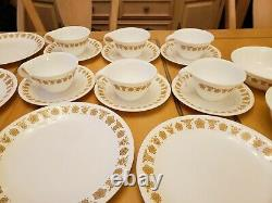 43 pc Vintage CORELLE BUTTERFLY GOLD Dinnerware Set plate bowl cup saucer