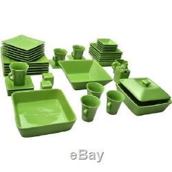 45 Pcs Dinnerware Set Square Banquet Plates Dishes Bowl Kitchen Multicolor