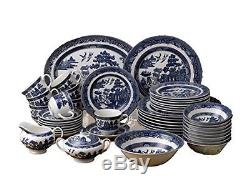 45-Piece Dinnerware Set Johnson Brothers Willow Blue Bowls Saucers Teacup Plates